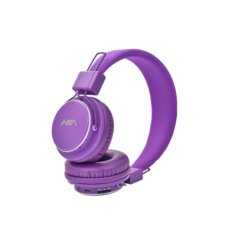 هدفون بی سیم نیا مدل NIA Q8-851S | NIA Q8_851S  wireless Headphone olive Purple