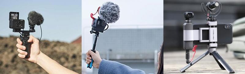 میکرفون دوربین اسمو پاکت و گوپرو هیرو 7 بلک و دوربین سونی RX0 II