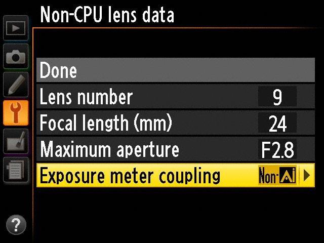 تنظیمات داخلی دوربین نیکون DF
